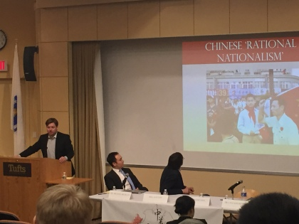 """""""Turbulent Waters: The Future of the South China Sea"""" with speaker Ivan Willis Rasmussen, a Ph.D. candidate at the The Fletcher School of Law and Diplomacy here at Tufts University talking about Chinese 'Rational Nationalism' and its ties to the issues surrounding the South China Sea!"""